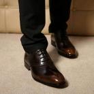 サルヴァトーレフェラガモ カーフ メンズ ドレスシューズ ビズネスシューズ 紳士靴 レースアップ ブラウン×ブラック  FG275044-2