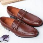 サルヴァトーレフェラガモ レザー メンズ ドレスシューズ ビズネスシューズ 紳士靴 バックル ブラウン  FG275042-1