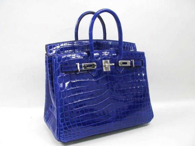 エルメス バーキン25 クロコニロティカス/ブルーエレクトリック 金具 シルバー hms010