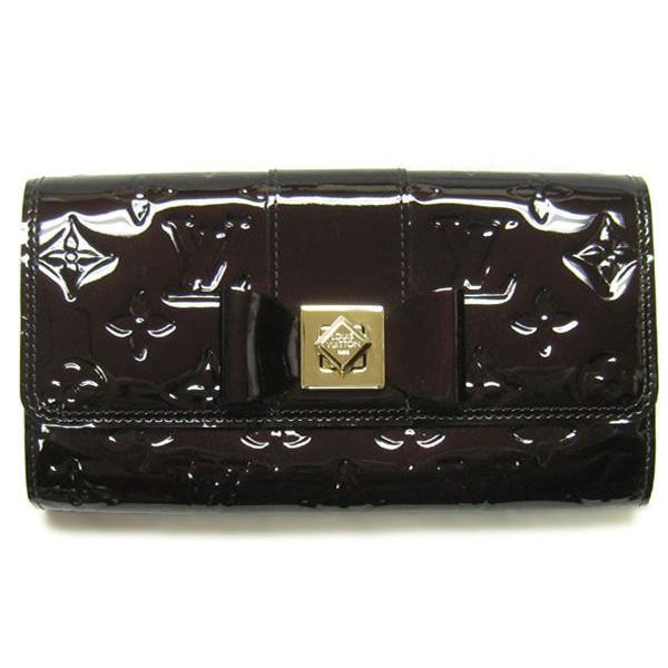 ルイヴィトン ヴェルニ M91498 ツイストロック財布 ポルトフォイユサラ ヌー アマラント