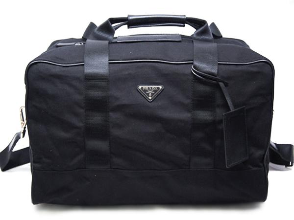 プラダ ボストンバッグ VS001S トラベル ストラップ付き シルバー金具 ナイロンブラック