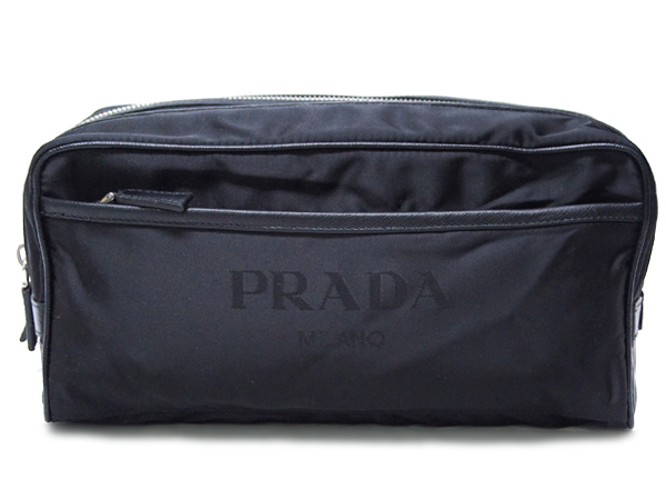 プラダ メンズ 2N0030コスメポーチ ナイロン ロゴ ジャガード ブラック