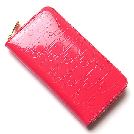 クリスチャンディオール ラウンドファスナー 長財布s0047gepc 278 小銭入れ付き フラミンゴピンク×パープル レディース