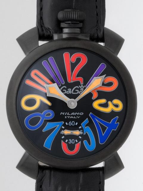 ガガミラノ GAGAMILANO マニュアル 48mm 手巻き 5012.3 ブラック皮(ブラックステッチ) ブラックマット/マルチカラーアラビア