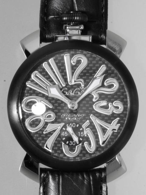 ガガミラノ GAGAMILANO マニュアル 48mm 手巻き 5013.1 ブラック皮 カーボン/シルバーアラビア