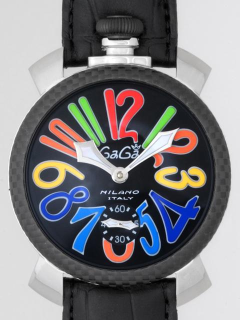 ガガミラノ GAGAMILANO マニュアル 48mm 手巻き 5015 ブラック皮 ブラック/マルチカラーアラビア