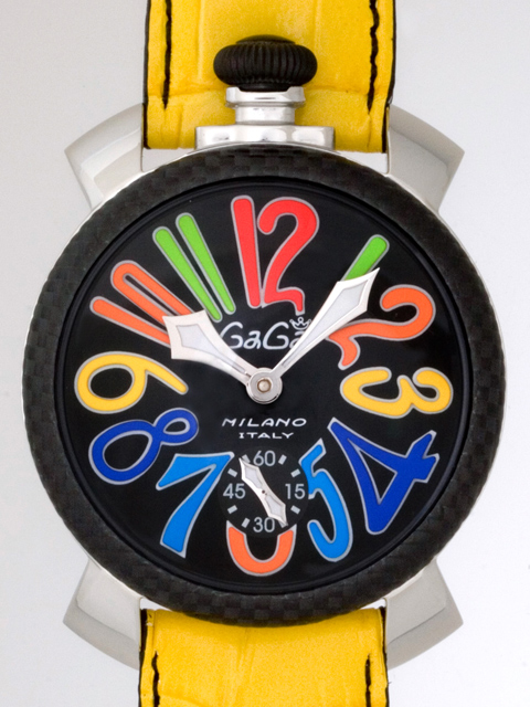 ガガミラノ GAGAMILANO マニュアル 48mm 手巻き 5015 イエロー皮 ブラック/マルチカラーアラビア