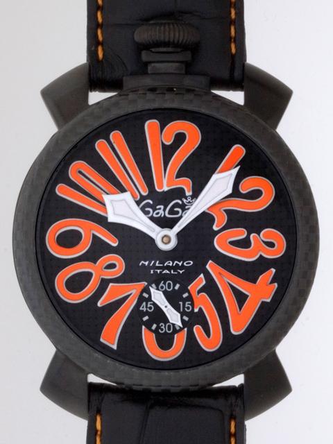 ガガミラノ GAGAMILANO マニュアル 48mm 手巻き 500本限定 5016.1 ブラック皮(オレンジステッチ) ブラックカーボン/オレンジアラビア