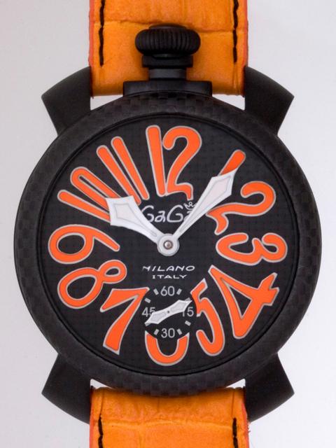 ガガミラノ GAGAMILANO マニュアル 48mm 手巻き 500本限定 5016.1 オレンジ皮 ブラックカーボン/オレンジアラビア