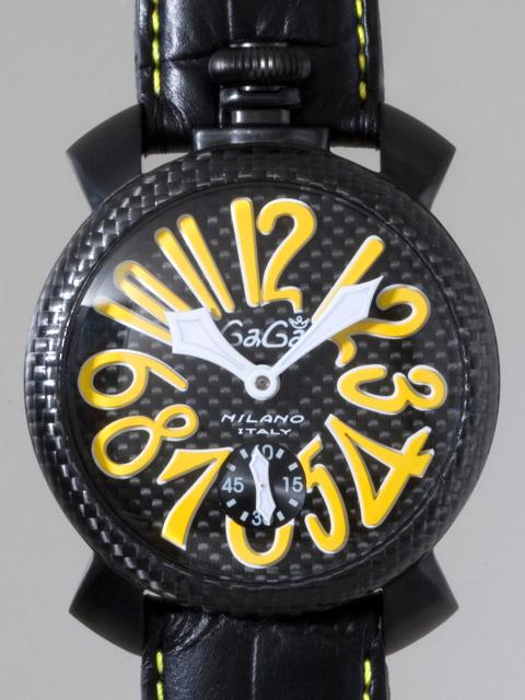 ガガミラノ GAGAMILANO マニュアル 48mm 手巻き 500本限定 5016.2 ブラック皮(イエローステッチ) ブラックカーボン/イエローアラビア