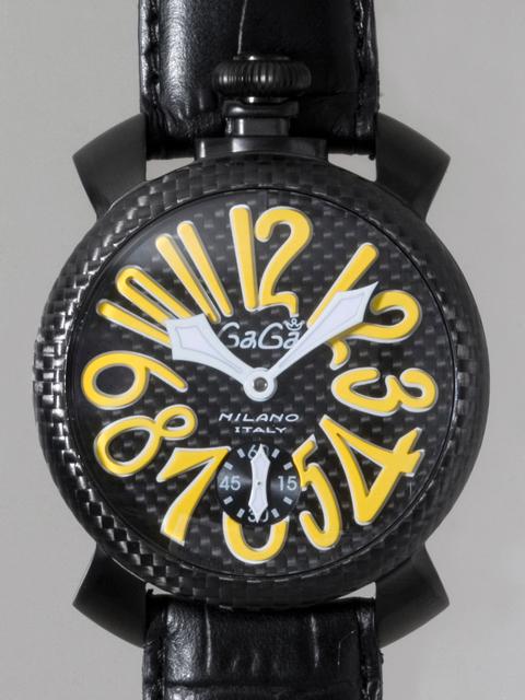 ガガミラノ GAGAMILANO マニュアル 48mm 手巻き 500本限定 5016.2 ブラック皮(ブラックステッチ) ブラックカーボン/イエローアラビア