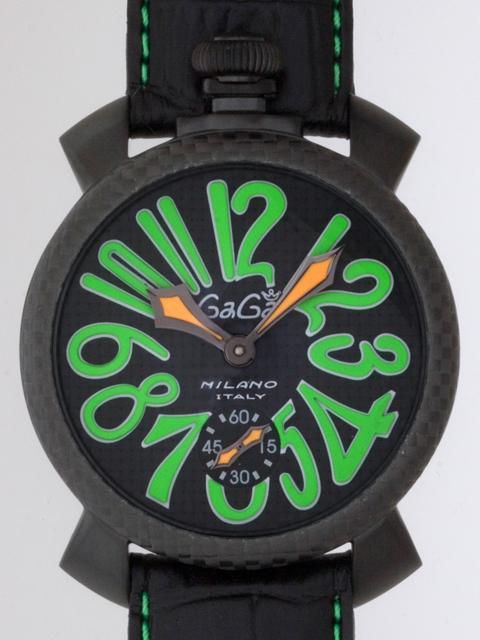 ガガミラノ GAGAMILANO マニュアル 48mm 手巻き 500本限定 5016.3 ブラック皮 ブラックカーボン/グリーンアラビア