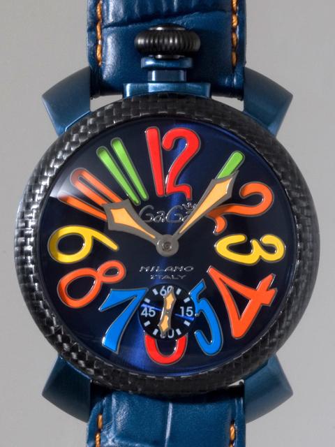 ガガミラノ GAGAMILANO マニュアル 48mm 手巻き 500本限定 5016.4 ブルー皮(オレンジステッチ) ブルーソレイユ/マルチカラーアラビア