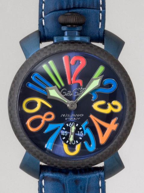 ガガミラノ GAGAMILANO マニュアル 48mm 手巻き 500本限定 5016.4 ブルー皮(ホワイトステッチ) ブルーソレイユ/マルチカラーアラビア