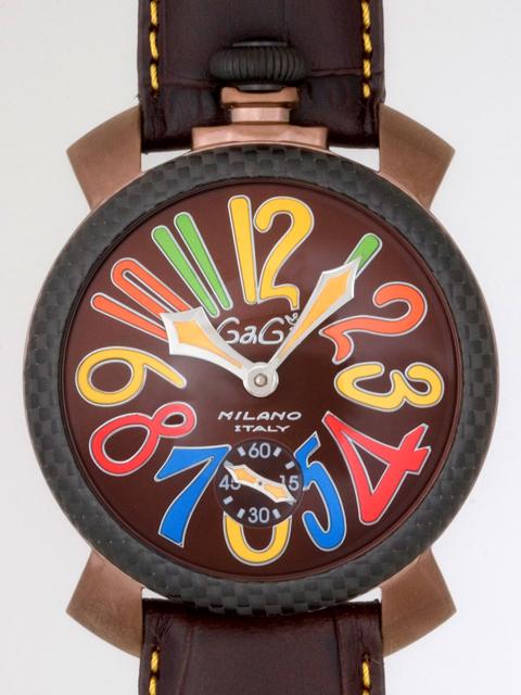 ガガミラノ GAGAMILANO マニュアル 48mm 手巻き 500本限定 5016.5 ダークブラウン皮 ブラウン/マルチカラーアラビア