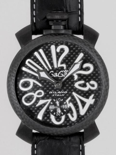 ガガミラノGAGAMILANO マニュアル 48mm 手巻き 500本限定 5016.6 ブラック皮 ブラックカーボン/ホワイトアラビア