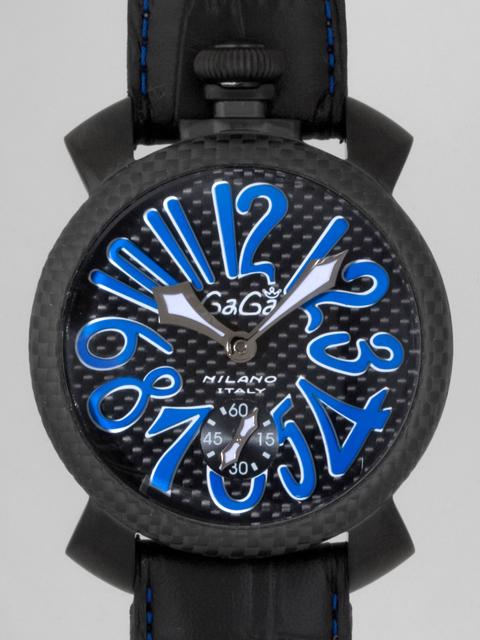 ガガミラノ GAGAMILANO マニュアル 48mm 手巻き 500本限定 5016.7 ブラック皮 ブラックカーボン/スカイブルーアラビア