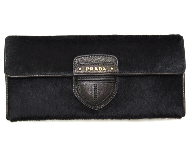プラダ 1M1244ファスナー長札 長財布 ゴールド金具 CAVALLINO NERO ハラコ ブラックxカーフレッド