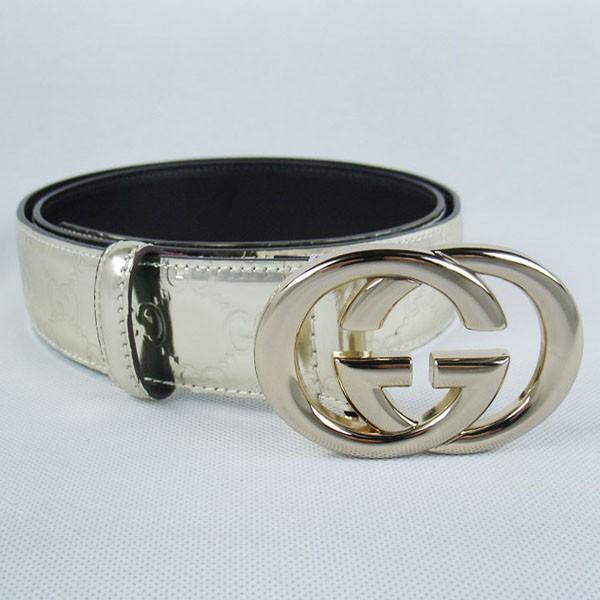 GUCCIグッチスーパーコピー GG型押し エナメル ゴールド金具 belt-41