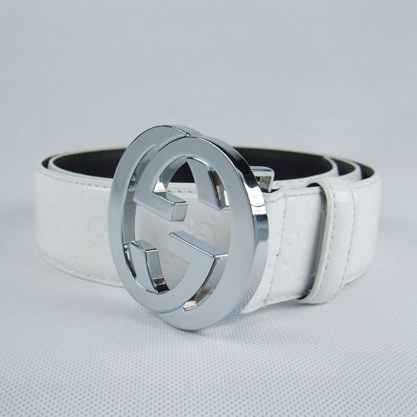GUCCIグッチスーパーコピー GGバックル レザー シルバー金具 belt-26