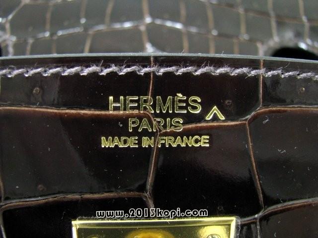 エルメス バーキン30クロコポロサス/エベンヌ ゴールド金具 hms165