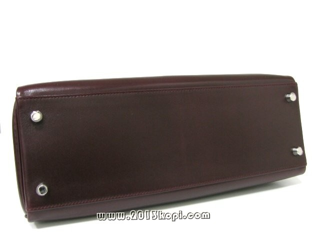 エルメス ケリー32 内縫い ボックスカーフ/プラム シルバー金具 2106500130297
