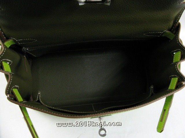 エルメス ケリー28 内縫い ヴォーエプソン/キウイ 金具 シルバー 2106800009378