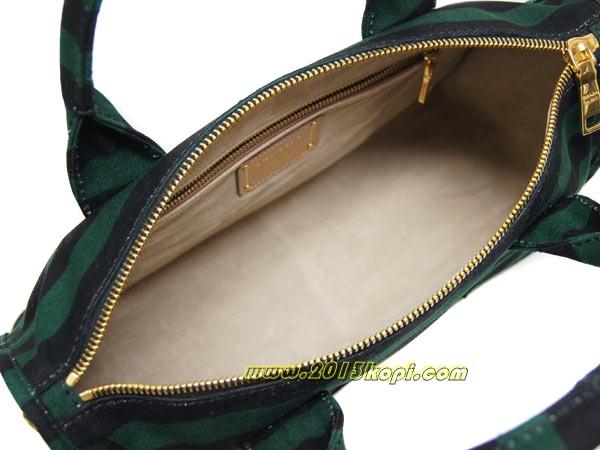 プラダ 2WAYバッグ トートバッグ ストラップ付きBL0708 キャンバス グリーンxブラック