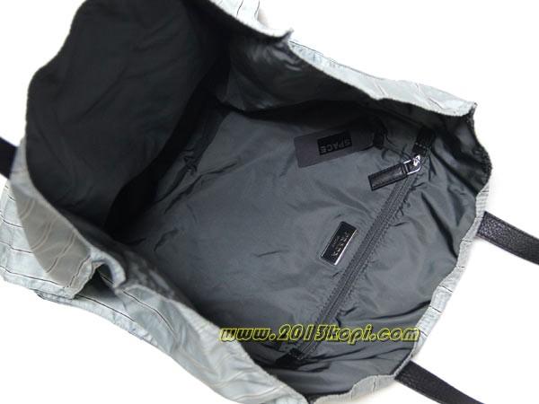プラダ ショッピングバッグ VA0905ナイロンプリント ストライプ ライトグレー