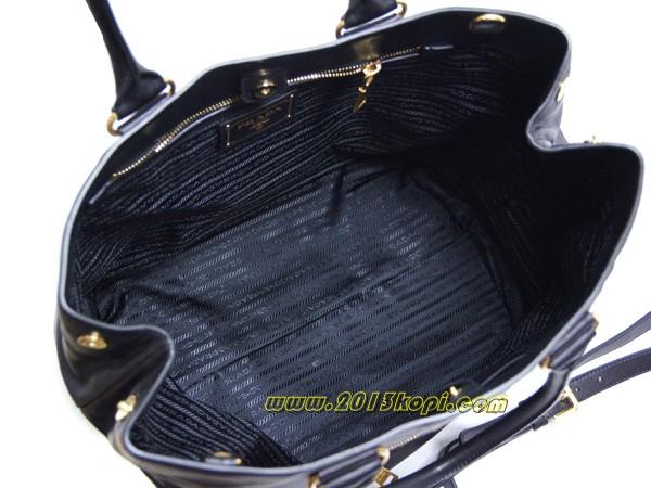 プラダ バッグ 2WAYショルダー トートバッグBR4693ストラップ付き ソフトカーフ NERO ブラック ゴールド金具