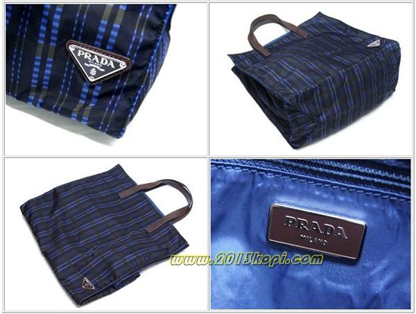 プラダ ショッピングバッグ VA0905マドラスチェック ナイロン プリント ブルーラベンダーxブラックxカーキ