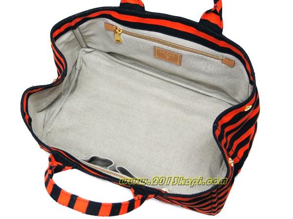 プラダ トートバッグ ショッピング B1872Bキャンバス オレンジxブラック
