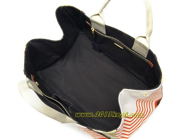 プラダ トートバッグ ショッピングBN1872 キャンバス デザイン アイボリーxオレンジxブラウン