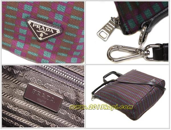 プラダ 2WAYバッグ トートバッグ ストラップ付き  ナイロンパープルxブラウンxグリーン チェック B2052G