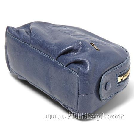 クロエ レザーポシェットバッグ 3p0324 7a733 721化粧ポーチ アズールブルー レディース