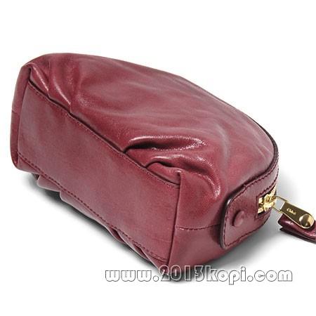 クロエ レザーポシェットバッグ 3p0324 7a733 893化粧ポーチ ダークチェリー レディース