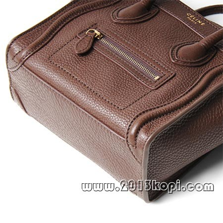 セリーヌ レザーハンドバッグ 2WAY仕様16824 3gfl 18ccラゲージ ナノショッパー チョコレートブラウン レディース
