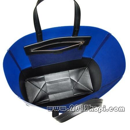 セリーヌ レザー トートバッグ16555 7khe 06loブラック×ブルー レディース