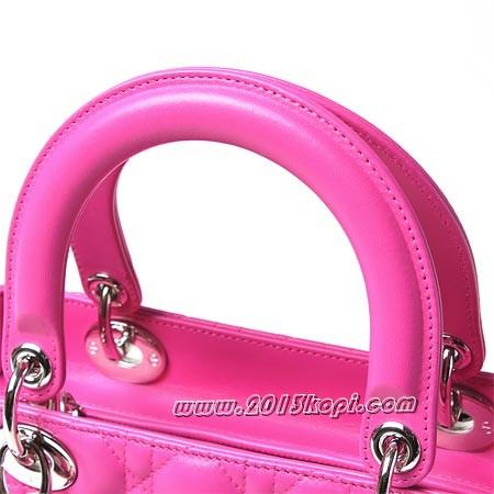 クリスチャンディオールcal44551 279 ロゴチャーム付きハンドバッグ(2WAY仕様) Lady Dior レディディオール ローズピンク【2016年春夏新作】 レディース