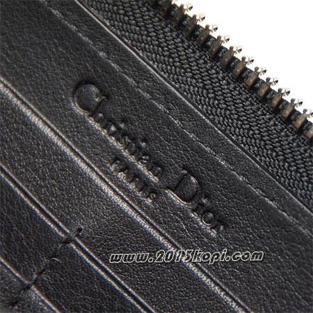 クリスチャンディオールs0047 pvdc 900 ロゴチャーム付き ラウンドファスナー 長財布 トゥッティ ブラック レディース