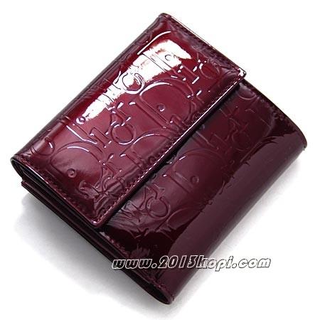 クリスチャン・ディオール s0025peml 303 トロッター柄 2つ折り財布 小銭入れ付き レディース ワインレッド