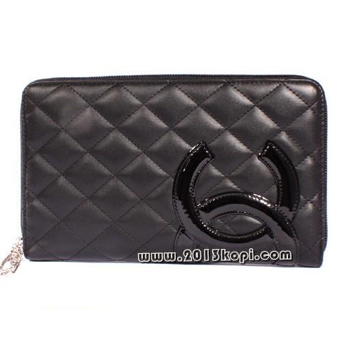 シャネル カンボンライン A48660 長財布 ブラック&ショッキングピンク