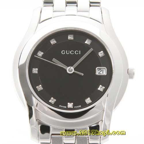 グッチ GQ5505 ダイヤインデックス ブラック メンズ YA055303