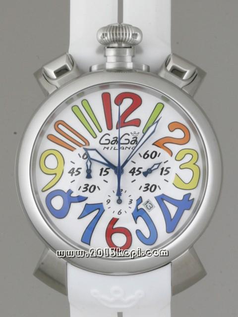 ガガミラノ GAGAMILANO マニュアルクロノ 48mm クォーツ 5050.1 ホワイトラバー ホワイト/マルチカラーアラビア