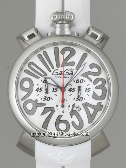ガガミラノ GAGAMILANO マニュアルクロノ 48mm クォーツ 5050.3 ホワイトラバー ホワイト/シルバーアラビア