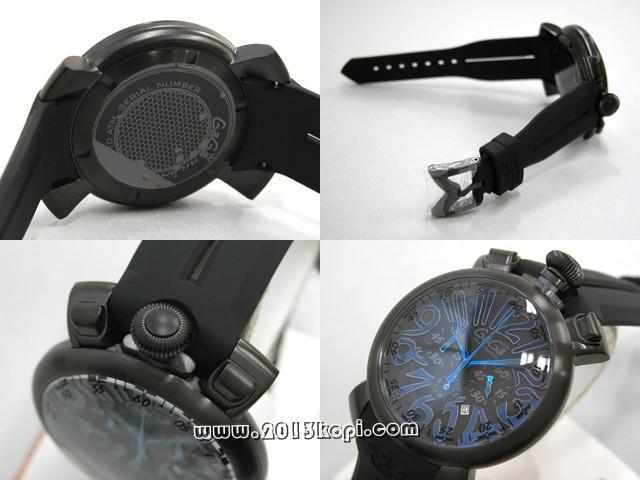 ガガミラノ GAGAMILANO マニュアルクロノ 48mm クォーツ 5050.9 ブラックラバー ブラック/ブルーアラビア